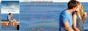 Summer at the Shore by VK Sykes, a Seashell Bay novel #2 blog tour banner